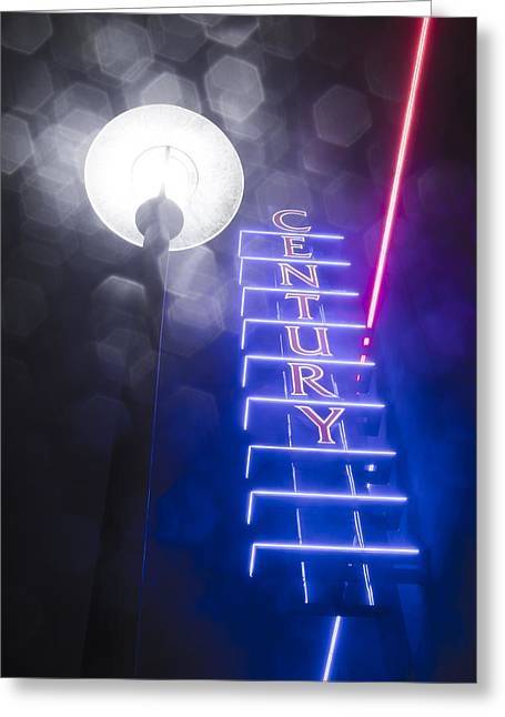 Savvy Greeting Cards - Century Neon Greeting Card by Bryant Coffey