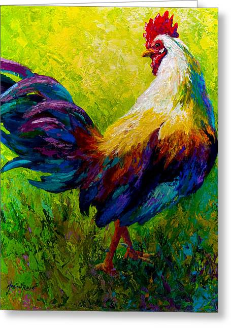 Animals Greeting Cards - CEO Of The Ranch - Rooster Greeting Card by Marion Rose