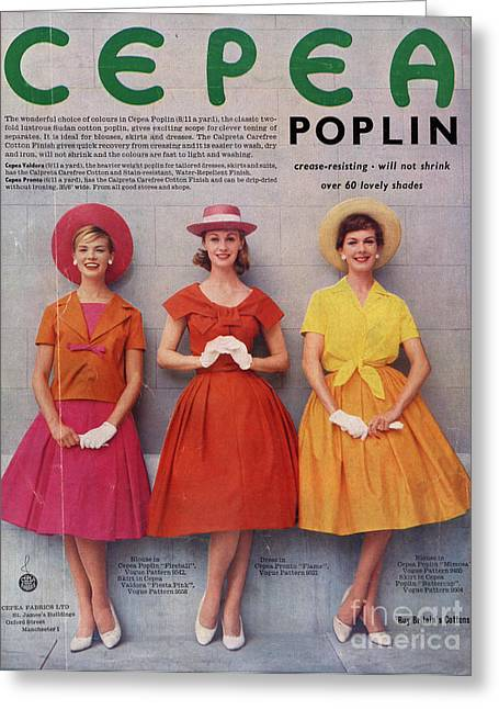 Vintage Clothes Greeting Cards - Cepea Poplin 1959 1950s Uk Womens Greeting Card by The Advertising Archives