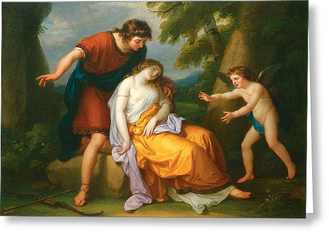 Angelica Greeting Cards - Cephalus and Procris and Cupid Greeting Card by Angelica Kauffman
