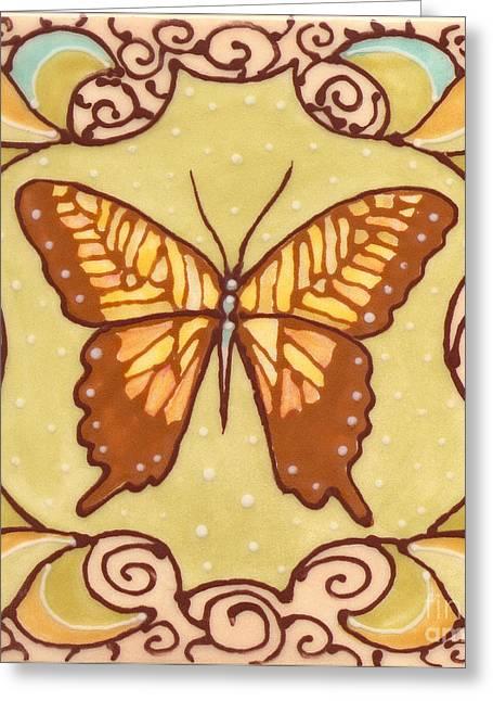 Butterflies Ceramics Greeting Cards - Ceramic Butterfly Greeting Card by Anna Skaradzinska