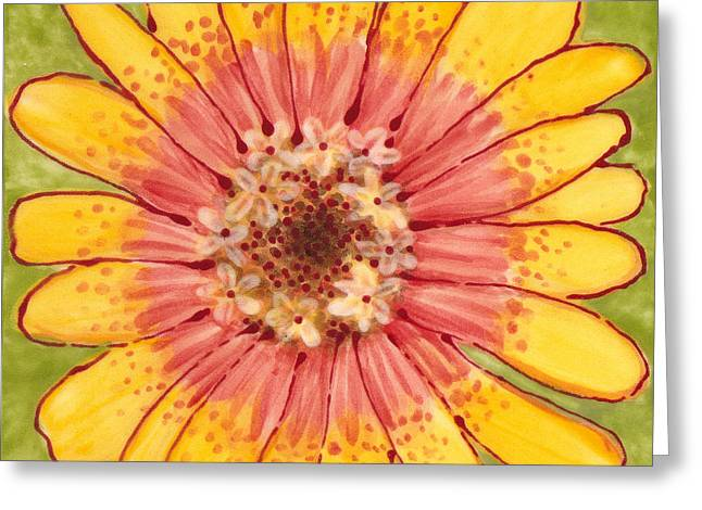 Flowers Ceramics Greeting Cards - Ceramic Flower 1 Greeting Card by Anna Skaradzinska