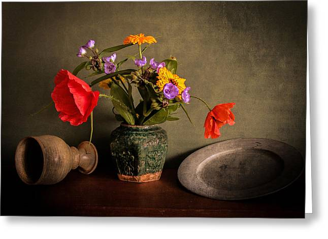 Photographs With Red. Greeting Cards - Ceramic flowerpot with poppies Greeting Card by Hugo Bussen