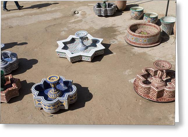 Moroccan Courtyard Greeting Cards - Ceramic Fountains In Yard Of Pottery Greeting Card by Panoramic Images