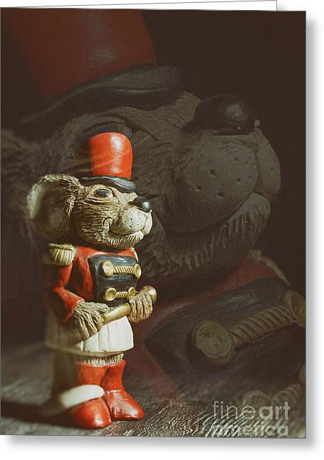 Menace Greeting Cards - Ceramic Mouse Holding Baton Greeting Card by Amanda And Christopher Elwell