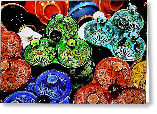 Green Color Ceramics Greeting Cards - Ceramic Potery Pots Greeting Card by Rob Hans