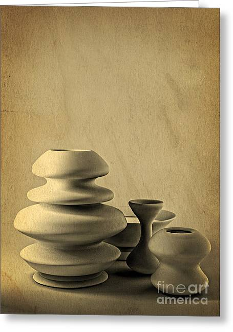 Ceramic Pottery Still Life I - Charcoal Sketch Greeting Card by Beverly Claire Kaiya