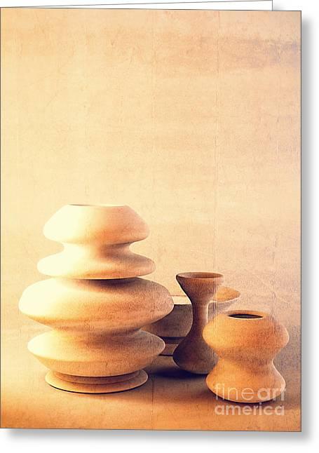 Ceramic Pottery Still Life I - Soft Vintage Greeting Card by Beverly Claire Kaiya