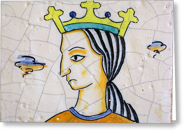 Kitchen Art Ceramics Greeting Cards - Ceramic Queen Greeting Card by Mair Hunt