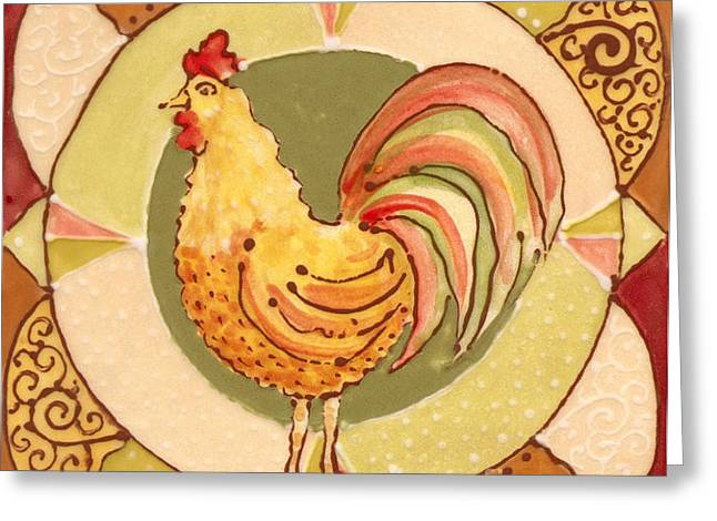 Patterned Ceramics Greeting Cards - Ceramic Rooster Greeting Card by Anna Skaradzinska