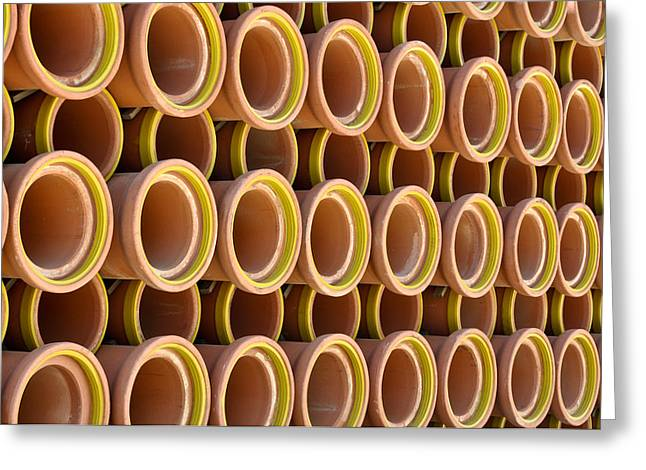 Drain Greeting Cards - Ceramic Sewer Pipes Greeting Card by Brandon Bourdages