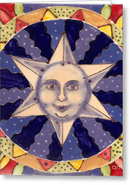 Patterned Ceramics Greeting Cards - Ceramic Star Greeting Card by Anna Skaradzinska