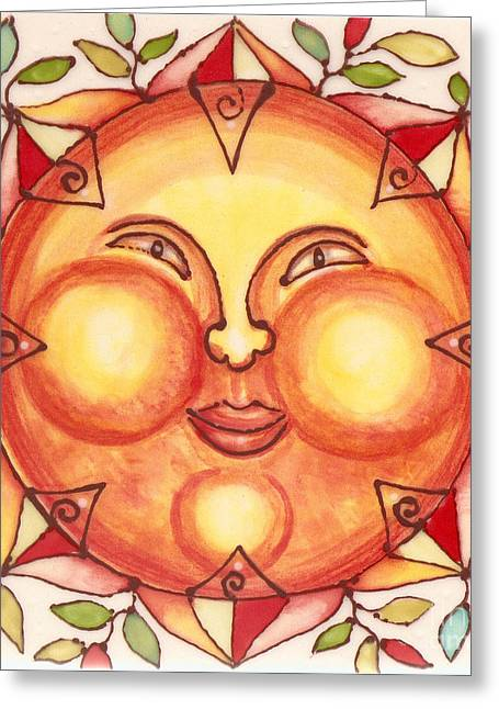 Whimsical. Ceramics Greeting Cards - Ceramic Sun 2 Greeting Card by Anna Skaradzinska