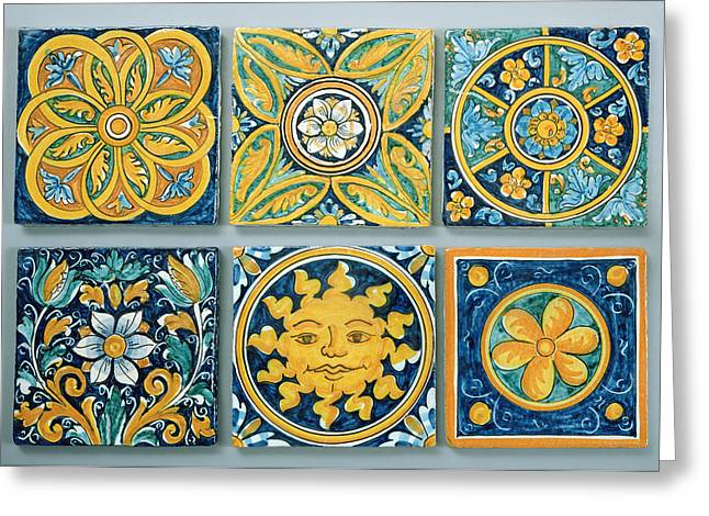 Pottery Greeting Cards - Ceramic Tiles In The Typical Caltagirone Style Ceramic Greeting Card by Italian School