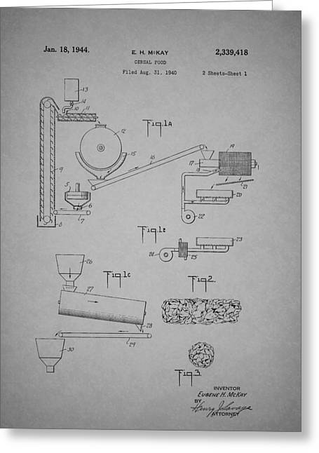 Cereal Food Machine Patent 1944 Greeting Card by Mountain Dreams