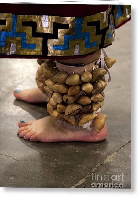 Fancy-dancer Greeting Cards - Ceremonial Aztec Dancers Feet Greeting Card by Janice Rae Pariza