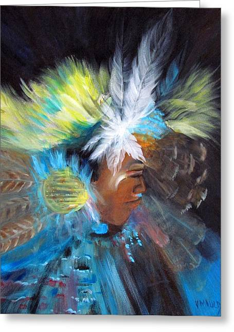 Fancy-dancer Paintings Greeting Cards - Ceremonial Dance Greeting Card by Victoria Mauldin