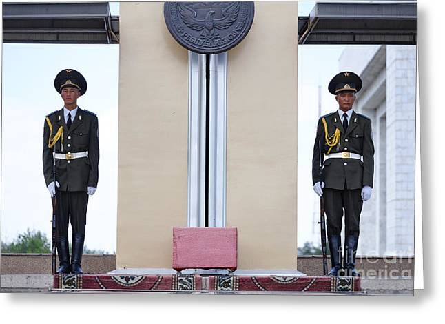 Central Asia Greeting Cards - Ceremonial soldiers in Bishkek Kyrgyzstan  Greeting Card by Robert Preston