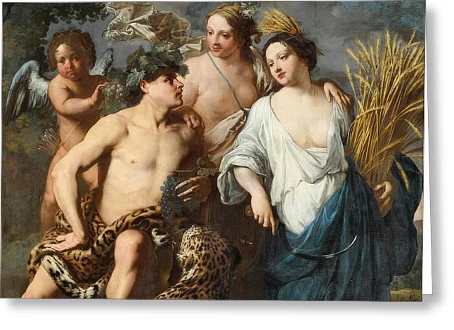 Miel Greeting Cards - Ceres Bacchus and Venus Greeting Card by Jan Miel