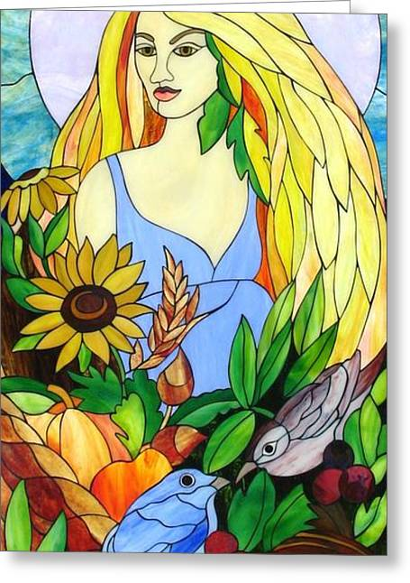 Woman Glass Art Greeting Cards - Ceres Greeting Card by Suzanne Tremblay