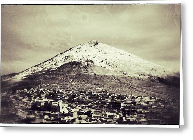 Cerro Rico Potosi Black And White Vintage Greeting Card by For Ninety One Days