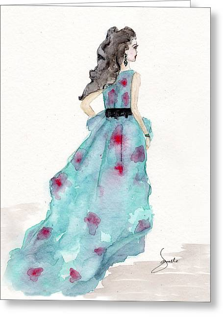 Dress Greeting Cards - Cerulean Blue Fashion Sketch Dress Greeting Card by Janelle Nichol