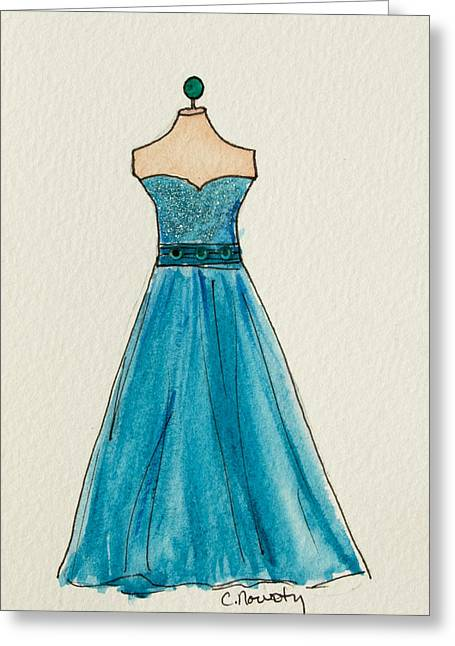 Ball Gown Paintings Greeting Cards - Cerulean Blue Gown Greeting Card by Cindy Nowotny