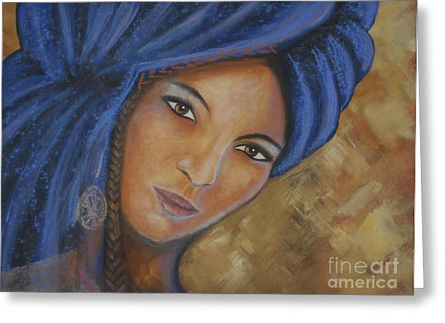 Northern Africa Paintings Greeting Cards - Cerulean Tuareg Greeting Card by Daniela Abrams