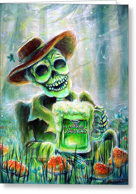 Whimsical Skull Greeting Cards - Cerveza Verde Greeting Card by Heather Calderon