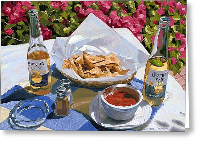 Beer Paintings Greeting Cards - Cervezas y Nachos - Coronas with Nachos Greeting Card by Steve Simon