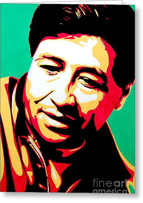 Civil Rights Mixed Media Greeting Cards - Cesar Chavez Greeting Card by Nancy Mergybrower