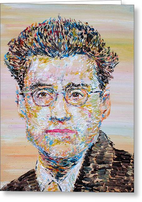 Cesare Greeting Cards - Cesare Pavese Greeting Card by Fabrizio Cassetta