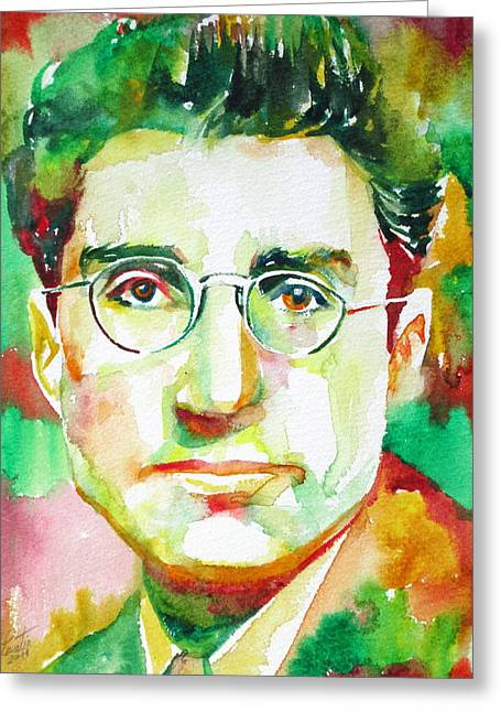 Cesare Greeting Cards - CESARE PAVESE / watercolor portrait Greeting Card by Fabrizio Cassetta