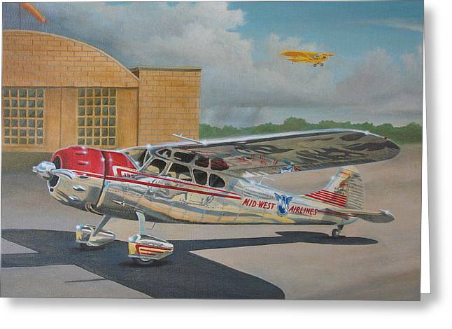 Airfield Greeting Cards - Cessna 195 Greeting Card by Stuart Swartz