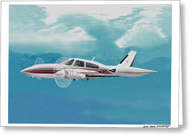 Rotate Paintings Greeting Cards - Cessna 310 Twin engine Greeting Card by Jack Pumphrey