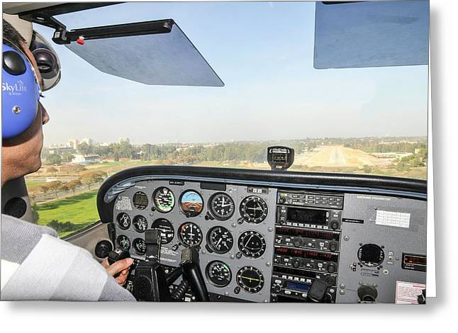 Cessna Skyhawk At Takeoff Greeting Card by Photostock-israel