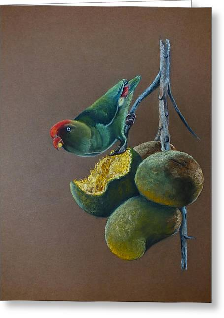 Fauna Pastels Greeting Cards - Ceylon Hanging Parrot Greeting Card by Nirosh Perera