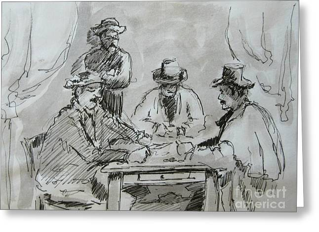 Playing Cards Greeting Cards - Cezanne Card Players Greeting Card by John Malone