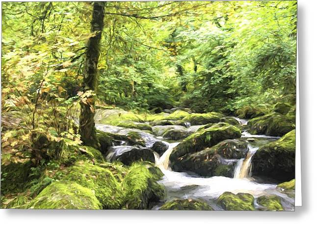 Becky Greeting Cards - Cezanne style digital painting Landscape of Becky Falls waterfall in Dartmoor National Park Eng Greeting Card by Matthew Gibson