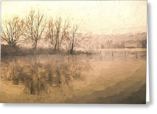 Boundary Waters Greeting Cards - Cezanne style digital painting Landscape of lake in mist with sun glow at sunrise Greeting Card by Matthew Gibson