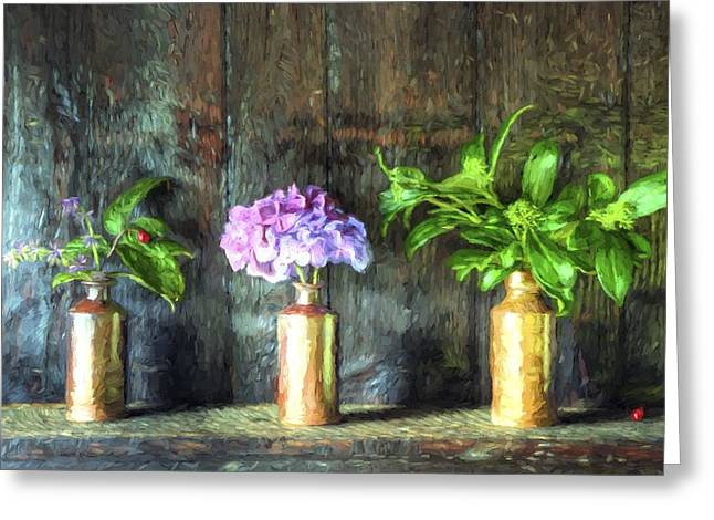 Cezanne Style Digital Painting Retro Style Still Life Of Dried Flowers In Vase Against Worn Woo Greeting Card by Matthew Gibson