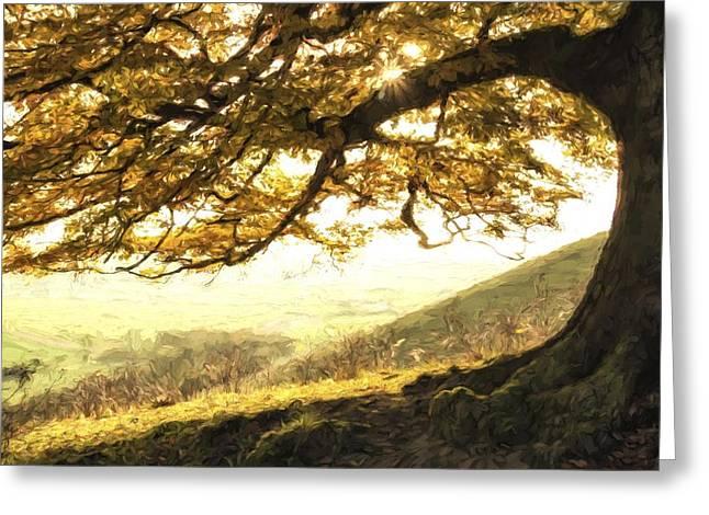 Escarpment Greeting Cards - Cezanne style digital painting Stunning Autumn morning sunlight lights landscape through golden Greeting Card by Matthew Gibson