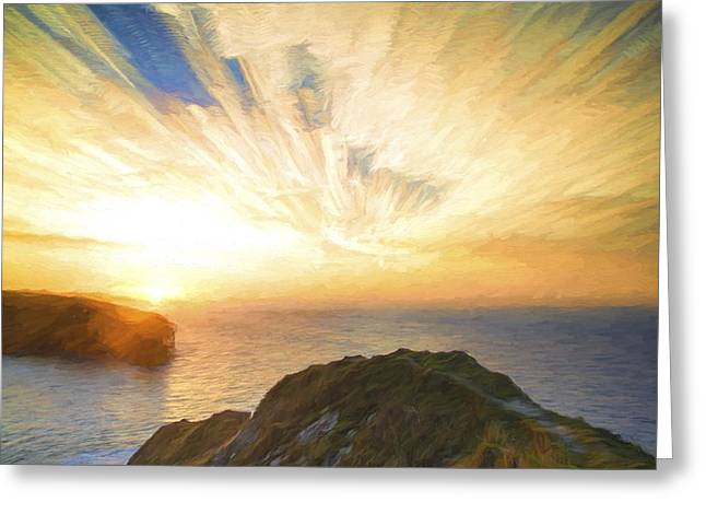 Colorful Cloud Formations Greeting Cards - Cezanne style digital painting sunrise ocean landscape Greeting Card by Matthew Gibson