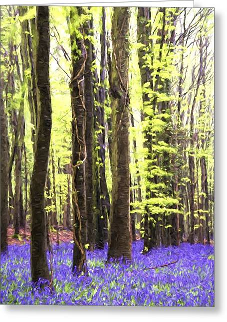 Protected Species Greeting Cards - Cezanne style digital painting Vibrant bluebell forest landscape Greeting Card by Matthew Gibson