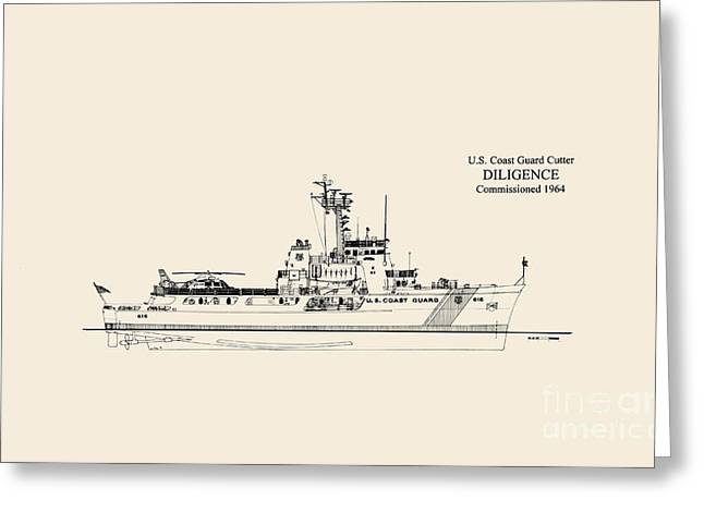 Uscg Drawings Greeting Cards - C G C  Diligence  Greeting Card by Jerry McElroy - Public Domain Image