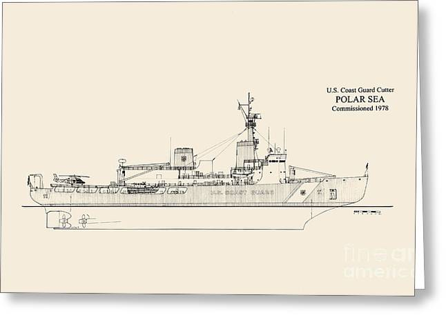 Uscg Drawings Greeting Cards - CGC Polar Sea Greeting Card by Jerry McElroy - Public Domain Image