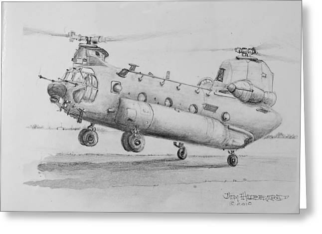 Jim Hubbard Greeting Cards - CH 47 Chinook Helicopter Greeting Card by Jim Hubbard