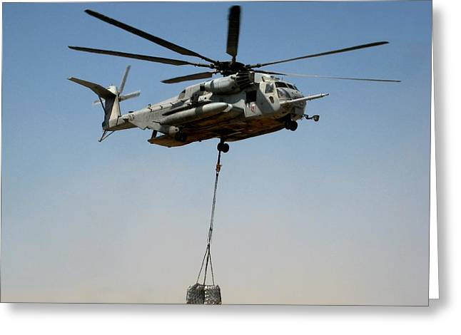 Helmand Province Greeting Cards - CH-53 carrying cargo load in Afghanistan Greeting Card by Jetson Nguyen