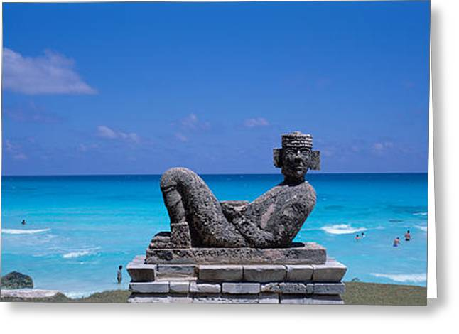 Archaeology Sculpture Greeting Cards - Chac Mool Altar, Cancun, Mexico Greeting Card by Panoramic Images