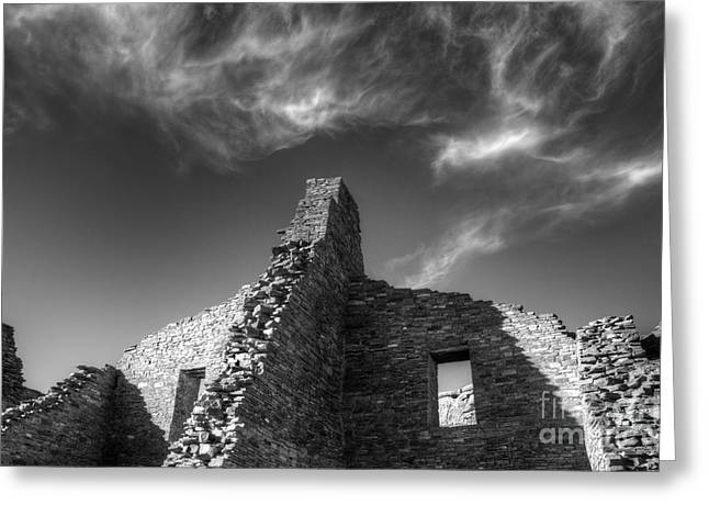 Chaco Canyon Greeting Cards - Chaco Canyon Pueblo Bonito Monochrome Greeting Card by Bob Christopher